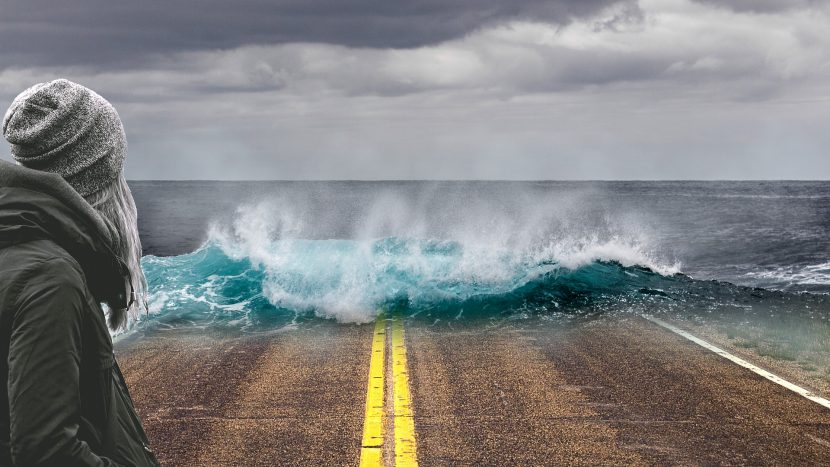 ocieplenie, morze, ocean, kobieta, droga