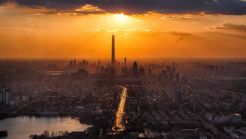 miasto, metropolia, budynki, niebo