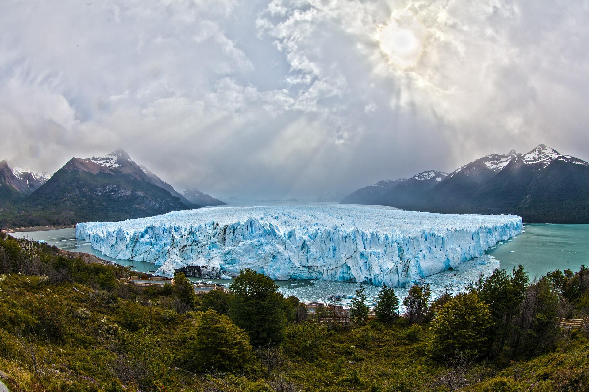 lodowiec, góry, zieleń, jezioro