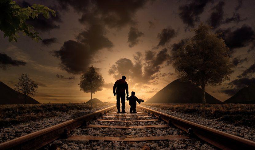 ojciec, syn, pociąg