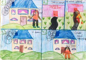 dom, dziecko, rysunek, zabawki